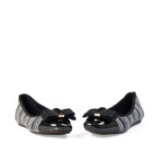 Bow Stripe Knitted Toe Cap Ballet Flats_Black (3)