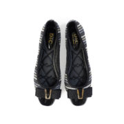 Bow Stripe Knitted Toe Cap Ballet Flats_Black (5)