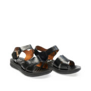 Leather Push Pin Buckle Sandals_Black (2)