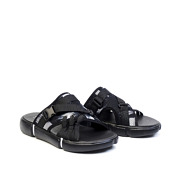 Abstract Brush Print Utility Sandals_Black (2)