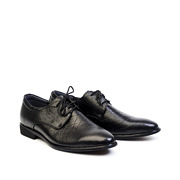 Checkered Detail Leather Derby Dress Shoes_Black (2)