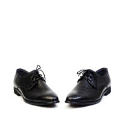 Checkered Detail Leather Derby Dress Shoes_Black (3)