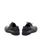 Checkered Detail Leather Derby Dress Shoes_Black (4)