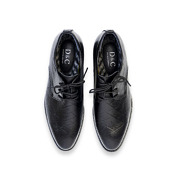 Checkered Detail Leather Derby Dress Shoes_Black (5)