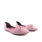 Houndstooth Ribbon V-Cut Almond Toe Ballet Flats_Maroon (2)