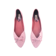Houndstooth Ribbon V-Cut Almond Toe Ballet Flats_Maroon (5)