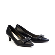 Classic Bow Pointed Toe Kitten Heel Pumps_Black (2)
