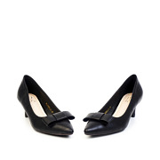 Classic Bow Pointed Toe Kitten Heel Pumps_Black (3)