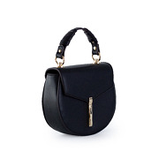 Coiled Top Handle Saddle Crossbody Bag_BLACK (2)