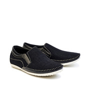 Mixed Media Contrasting Stitch Slip-On Loafers_BLACK (2)