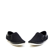 Mixed Media Contrasting Stitch Slip-On Loafers_BLACK (3)