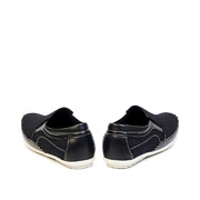 Mixed Media Contrasting Stitch Slip-On Loafers_BLACK (4)
