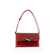 Netted Metal Disc Detail Flap Clutch_RED (5)