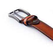 Oil Tanned Leather Matte Gunmetal Buckle Belt_BROWN (4)