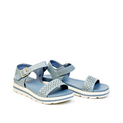 Perforated Buckle Strap Layered Platform Sandals_BLUE (2)