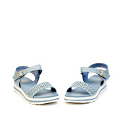 Perforated Buckle Strap Layered Platform Sandals_BLUE (3)