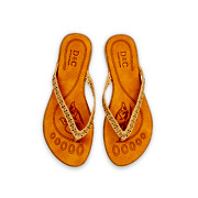 Perforated Pattern Thong Slippers_APRICOT (5)
