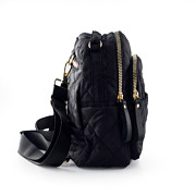 Quilted Fabric Convertible Backpack_BLACK (2)