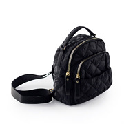 Quilted Fabric Convertible Backpack_BLACK (4)