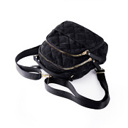 Quilted Fabric Convertible Backpack_BLACK (5)