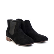 Suede Low Heel Ankle Boots_BLACK (2)