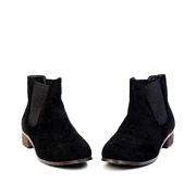 Suede Low Heel Ankle Boots_BLACK (3)