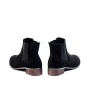 Suede Low Heel Ankle Boots_BLACK (4)