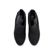 Suede Low Heel Ankle Boots_BLACK (5)