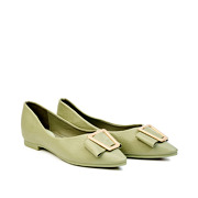 Trapezium Buckle Pointed Toe Ballet Flats_GREEN (2)