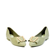 Trapezium Buckle Pointed Toe Ballet Flats_GREEN (3)