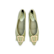 Trapezium Buckle Pointed Toe Ballet Flats_GREEN (5)