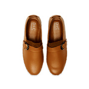 Leatherette Buckle Detail Stitched Slip-Ons_CAMEL (5)