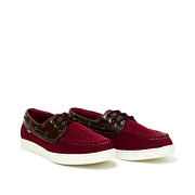 Mixed Media Lace-Up Boat Shoes_MAROON (2)
