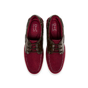 Mixed Media Lace-Up Boat Shoes_MAROON (5)