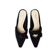 Suede Bow Mary Jane Low Heel Mules_BLACK (5)