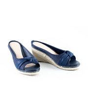 Polka Dot Knotted Espadrille Wedges_NAVY (2)
