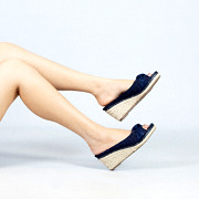 Polka Dot Knotted Espadrille Wedges_NAVY (5)