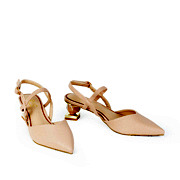 Mary Jane Ankle Strap Sculptural Heel Pumps_APRICOT (2)