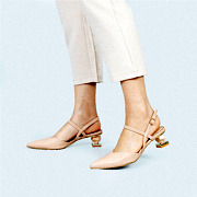 Mary Jane Ankle Strap Sculptural Heel Pumps_APRICOT (5)